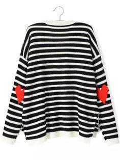 Black White Long Sleeve Striped Heart Print Sweater
