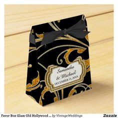 Favor Box Glam Old Hollywood Regency Black Tie Party Favor Box
