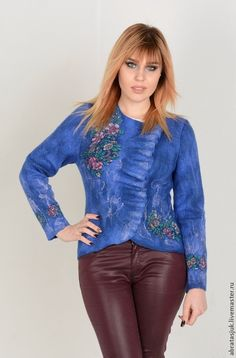 Buy Jacket Indigo - dark blue, floral, handmade, designer clothes, clothes for women