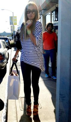 Love the top and pants. Would prob wear with flats or boots, her shoes aren't my style
