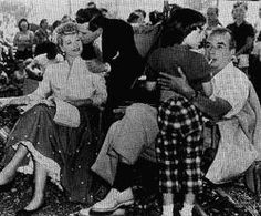 Lucy, Desi, Liza and Vincente on the set of The Long Long Trailer