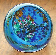"Blue Inscape Geode Paperweight    Mystifying ""Inscape"" Geode Paperweight, Hand Made by artist Parker Stafford of Parker Stafford Art Glass of Culpeper, Virginia"