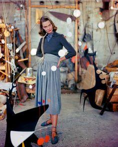Dazzling photos capture 1940s fashion in rich color late era skirt shirt casual day wear sportswear grey black artist studio