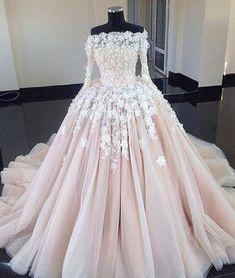 Unique champagne lace tulle long wedding dress, bridal dress
