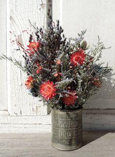 Dried Flower Bouquet Floral Arrangement in by VintagePolkaDotcom