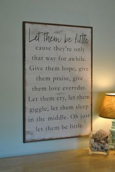 BE LITTLE kids sign distressed shabby chic painted wooden sign kids room wall decor painted farmhouse playroom wall art by ThePeddlersShed on Etsy Painted Wooden Signs, Wooden Decor, Do It Yourself Furniture, Let Them Be Little, Toy Rooms, Diy Home, Home Decor, Joanna Gaines, Home Fashion