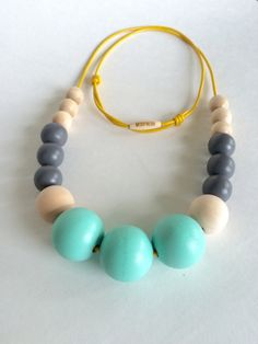 Hand painted geometric wooden bead bubble necklace/ by MODFRESH