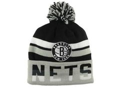 sale retailer 012dc 93125 Mitchell Ness Brooklyn Nets Adult Cuff Knit Beanie w Pom One Size OSFA NBA  Authentic Hat