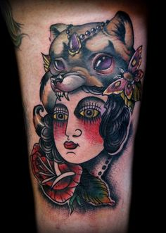 Lady Head Raccoon Hat Collaboration Tattoo with Kelly Doty & Adam Lauricella