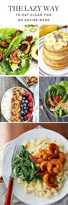 Set up next week for success with this seven-day clean-eating plan. Healthy Cooking, Healthy Snacks, Healthy Eating, Fitness Snacks, Week Of Healthy Meals, Healthy Oils, Diet Snacks, Healthy Recipes For Weight Loss, Healthy Breakfasts