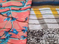 Sorbet Sky & Jewelled Shell Print Silk Habotai Scarves