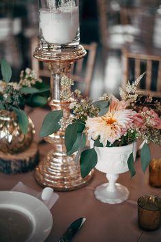 Gold metallic candlestick, milkglass vase, pink, peach wedding centerpiece  Courtesy of @ninephotography