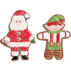 RAZ Gumdrops and Jellybeans 8 Inch Santa and Elf Iced Cookie Ornaments