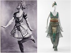 Left: Costume Design by Leon Bakst,The Blue God(1912). [Credit:Diaghilev and the Ballets Russes, The National Gallery of Art] Right: Fancy Dress Costume by Paul Poiret, 1911. [Credit: Metropolitan Museum of Art] (Comparison by Jon Frederick, Fashion and The Ballets Russes: Costumes For A Modern World. NGA) ~Tyranny Of Style~