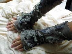 Gloves,goth, steampunk, victorian, fingerless gloves, armwarmers, tattered gloves, Corpse Bride, Ghost, halloween, performance, grey,women