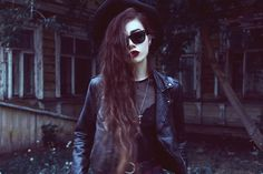 Image via We Heart It https://weheartit.com/entry/87734345 #black #blackleather #cross #dark #girl #goddess #hat #Hot #leather #longhair #look #moda #outfit #sexy #style #trend #violet #Vouge #blackleatherjacket #violetta #violettae #violettaell #violete #violetell