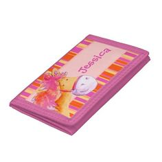 Gifting money? Pop it in a cute kids pink and orange pony /horse add your name tri-fold wallet. Watercolor art and design by www.sarahtrett.com