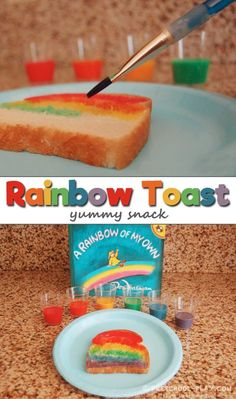 How to Make Rainbow Toast, Making rainbow toast in preschool, pre-k, and kindergarten. Perfect activity/extension of the book A Rainbow of My Own by Don Freeman. Rainbow Crafts Preschool, Weather Activities Preschool, Rainbow Activities, Nutrition Activities, Preschool Snacks, Preschool Lessons, Food Activities For Toddlers, Spring Preschool Theme, Preschool Themes
