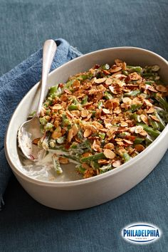 For a tasty twist on your classic Green Bean Casserole, keep the mushroom soup in the pantry and swap it out with some creamy PHILADELPHIA cream cheese. Use fresh green beans and top with panko breadcrumbs and crisp almonds for a holiday dish your guests won't soon forget!
