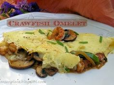 Crawfish Omelette from Ms. Crawfish Recipes, Creole Recipes, Southern Recipes, Fine Dining, Rice, Meat, Chicken, Breakfast, Omelettes