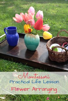 Montessori Practical Life Lesson: Arranging Flowers - a great hands-on way to teach order, observe flowers, and start exploring botany for kids! Homeschool Preschool Curriculum, Preschool Special Education, Preschool Lessons, Montessori Activities, Fun Activities For Kids, Lessons For Kids, Learning Activities, Life Lessons, Preschool Ideas