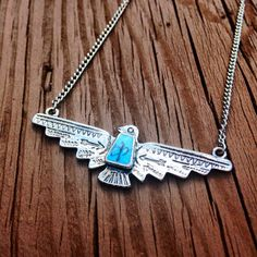 Thunderbird Necklace Native American Necklace Turquoise Necklace Tribal Southwestern Thunder Bird Country Indian Silver Thunderbird Necklace on Etsy, $14.50