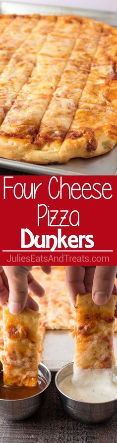 Four Cheese Pizza Dunkers ~ Homemade Pizza Layered with Mozzarella, Asiago, Provolone and Parmesan Cheese! Cut into Rectangles and Perfect for Dipping in Your Favorite Sauces!