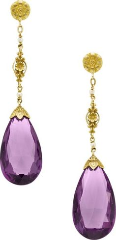 Amethyst, Seed Pearl, Gold Earrings.