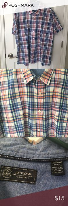 Plaid short sleeve button down Size XXL.  Classic fit. Beautiful rainbow plain fabric--blue is the most prominent color. Lightweight fabric. Arrow Shirts Casual Button Down Shirts