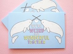 Narwhal valentine card, Narwhal greeting card, Cute narwhal, narwhal badge, Animal love card, whale greeting card, sweet greeting card by ShopNDS on Etsy https://www.etsy.com/listing/293825027/narwhal-valentine-card-narwhal-greeting