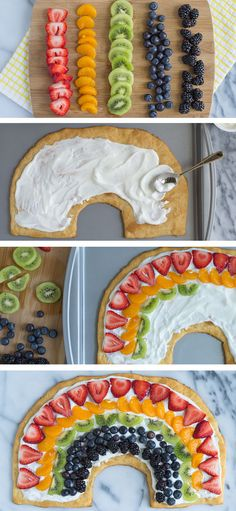 Rainbow Fruit Pizza. Use crescent roll dough for the crust and cut into the shape of a rainbow! Perfect for a party or St. Patrick's Day! #stpatricksday