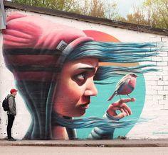 Mural by Stockholm, Sweden-based artist Yash #graffiti #mural #streetart