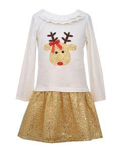 PRETTY Bonnie Jean Ivory Gold Sequin REINDEER Drop Waist Dress Girls (sz 2T-12) ~Color Me Happy Boutique #Christmas