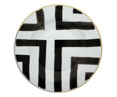 The iconic striped watercolor design of Christian Lacroix balance perfectly with hand-decorated elements of platinum and gold in the Sol y Sombra collection. Black And White Plates, White Dinner Plates, White Dinnerware, Porcelain Dinnerware, Christian Lacroix, Soup Plating, Mix Style, Fine Linens, Watercolor Design