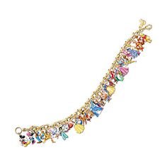 Ultimate Disney Classic Charm Bracelet Featuring 37 Disney Characters (625 BRL) ❤ liked on Polyvore featuring jewelry, bracelets, disney, charm bangles, charm bracelet jewelry, 24-karat gold jewelry, charm bracelet and gold plated jewelry