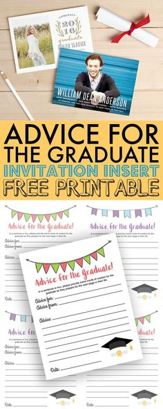Include these free Advice for the Graduate printables with custom invitations and announcements from Basic Invite to create lasting memories and advice for 8th grade graduates. via @730sagestreet