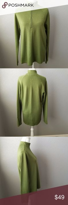 "Green Ibex Top Size L Green Ibex Top Size L  Hi Lo style  Chest  20.5"" Hip  20.5"" Length  30"" (back)  All measurements are taken while lying flat seam to seam ibex Sweaters Cowl & Turtlenecks"