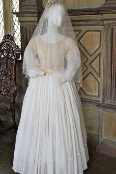 Jane Eyre Costume Exhibition at Haddon Hall. Jane Eyre's wedding dress.