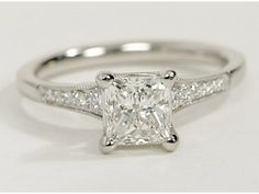Petite Milgrain Diamond Engagement Ring- love this one too