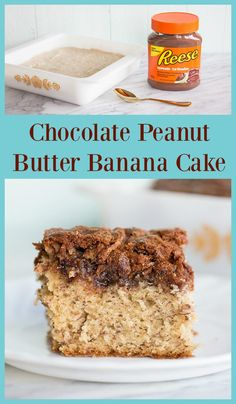 "Chocolate Peanut Butter Banana Cake. Hanna cake swirled with Reese's Chocolate PB Spread 8""."
