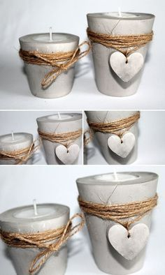 DIY plaster / concrete tealight holder with a heart just make yourself - Selber Machen - Basteln - DIY Geschenke - DIY plaster / concrete tealights with heart + instructions: DIY, crafts, DIY, craft ideas, decorati - Cement Art, Concrete Crafts, Concrete Projects, Diy Projects, Diy Home Crafts, Diy Crafts To Sell, Diy Para A Casa, Diy Plaster, Thrift Store Crafts