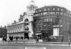The lovely old white building is the Cinema House opp Town Hall IMHO it should have been saved from Picture Shefffield New Cinema, Cinema Theatre, Old Pictures, Old Photos, Sheffield Pubs, Grove Park, Postcards For Sale, White Building, Derbyshire