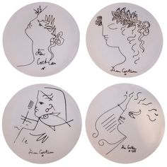 Limoges Plates by Jean Cocteau  France  1950's  A set of 4 Jean Cocteau Limoges plates. Done in his very whimsical style. Would look great hanging on a wall.