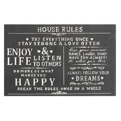House Rules Printed Typography Cotton Charcoal (Grey) 2 ft. x 3 ft. Accent Rug