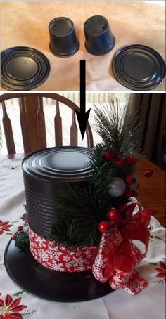 Dollar Store Christmas Ideas Snowman Hat Centerpieces Made from Dollar Store Plates and Large Tin Cans.Snowman Hat Centerpieces Made from Dollar Store Plates and Large Tin Cans. Snowman Crafts, Christmas Projects, Holiday Crafts, Christmas Ideas, Diy Christmas Hats, Christmas Decorating Ideas, Christmas Time, Santa Crafts, Christmas Mesh Wreaths