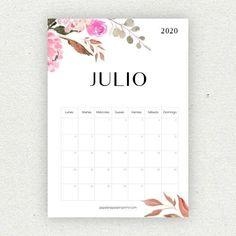 calendario julio imprimir 2020 Bullet Journal School, Bullet Journal Inspo, Printable Planner, Planner Stickers, Diy Agenda, Bullet Journal Printables, Diy Gifts For Him, Lettering Tutorial, Calendar 2020