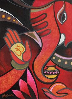 Blessing Ganesha II by Sunil Jaiswal Lord Ganesha Paintings, Spiritual Paintings, Ganesha Art, Jai Ganesh, Cubist Paintings, Indian Art Paintings, Cubist Art, Modern Indian Art, Indian Folk Art
