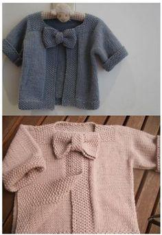 Tutoriel gratuit, en français, tricot. Pour tricoter ce ravissant gilet pour bébé avec un noeud. Déclinez le dans tous les coloris que vous aimez !