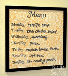 Memo board for Menu in 12x12 frame.