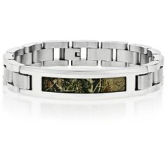 Belk  Co. Light Brown Mens Stainless Steel Camouflage Bracelet ($44) ❤ liked on Polyvore featuring men's fashion, men's jewelry, men's bracelets, light brown, mens chain link bracelets, mens stainless steel chains, mens watches jewelry, mens bracelets and mens chains